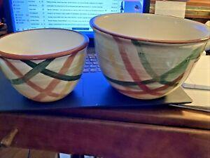 2 pc Vintage Vernonware Homespun Hand Painted Mixing Bowls Green Red Yellow