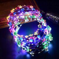 LED Light Up Flower Headband Hair Wreath Garlands for Wedding Festival Party HM