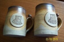"2 HANDMADE STUDIO POTTERY MUGS DURHAM CATHEDRAL 4"" TALL TAPERED SIGNED BNWOT"