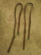 Antique Lot Of 2 Cuir Fusil Sangle Élingues Réglable Militaire de Collection