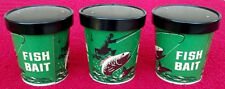 3 Rare Vintage 16OZ Cardboard Fish Live Bait Worm Containers With Lids Fishing