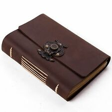 Ancicraft Leather Journal with Retro Flower Vase Lock A6 Lined Paper Unique Gift