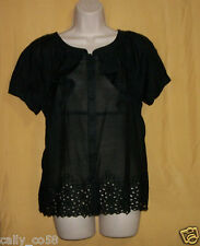Vertigo Paris women's black eyelet button ruffle silk blend bcbg blouse top $140