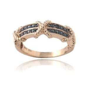 18K Rose Gold over 925 Silver Black Diamond Accent X & Bar Ring