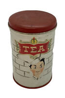 Vintage PARMECO  Parker Metal Dec. Co. Red And White TEA canister Tea Caddy RARE