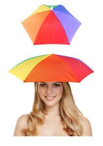 NEW ADULT RAINBOW UMBRELLA HAT CAP GAY PRIDE LGBT LESBIAN NOVELTY HEADOVER FANCY