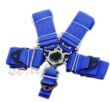 "Universal 5-Point 3"" Cam Lock Camlock Racing Seatbelt Seat Belt Harness Blue"