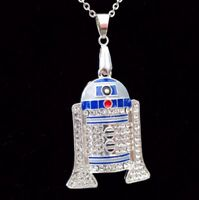 "Star Wars R2D2 R2-D2 Robot Iced Out Bling Necklace Pendant On 24"" Silver Chain"