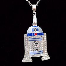 STAR Wars R2D2 R2-D2 ROBOT Iced Out Bling Collana Pendente Su Catena in Argento 24""