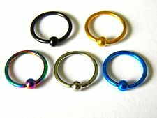 5x Captive Bead Rings CBR BCR Hoop Stainless Steel Earring Lip Piercing UK