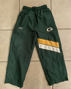 Reebok Green Bay Packers Team Apparel Wind Pants w/ Mesh Lining Youth Size 8 SM
