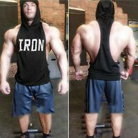 Men's Gym Muscle Workout Bodybuilding Print Sleeveless Athletic Hoodies Tank Top