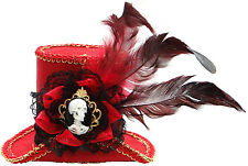 Mini Red Cameo Skeleton Steampunk Victorian Top Hat Headband Costume Accessory