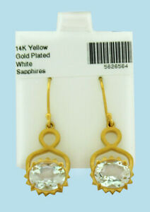 WHITE SAPPHIRES 6.84 Cts DANGLING EARRINGS 14k YELLOW GOLD PLATED * New With Tag