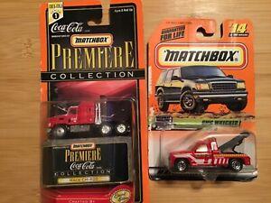 (2) Matchbox Mack CH-600 Coca-Cola Truck Series 1 & GMC Wrecker Highway Haulers