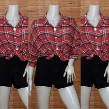 Red Plaid Button Down Shirt M-L