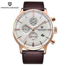 PAGANI DESIGN Men Quartz Wrist Watch Leather Strap Chronograph Display 3ATM Box