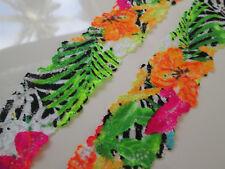 2 METER Schwarz Orange grün  SPITZE elastisch Borte Lace 3:5cm breit MODE