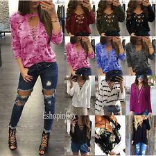 Womens Long Sleeve T-shirt Criss V-neck Lace Up Summer Casual Blouse Top Shirt