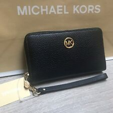468aff8601bb BNWT MICHAEL KORS Jet Set MK Wristlet Purse RRP £105 Black Leather 100%  Genuine