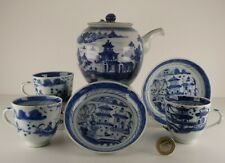 More details for  chinese 18th/19th porcelain blue & white mix collection, cups & saucers teapot.