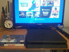 Sony PlayStation 4 PS4 Slim 500GB + Monster Hunter World, Evil Within 2, Boxed