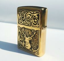 Zippo collectible lighter. Deer. a gift for a collector. Tobacciana. gold-plated