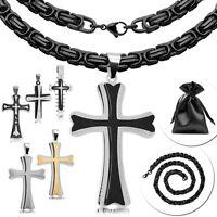 Königskette mit Anhänger Kreuz Kruzifix Halskette Panzerkette Schwarz Herren Set