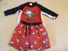 Gymboree Skate Monkey Swim Suit/Trunks & RashGuard Swim Shirt Red/Black 2T EUC