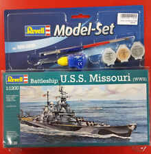 Revell 1:1200 Battleship U.S.S Missouri WWII Model Set Ship Kit paints & glue