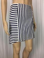 ** SPORTSGIRL ** Size S (10) White Blue Striped Stretch Mini Skirt - (A963)