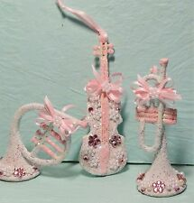 Shabby Christmas Cottage Chic Ornament Decoration Pink Musical Instruments #