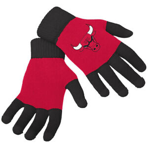 Officially Licensed NBA Knit Colorblock Gloves Chicago Bulls