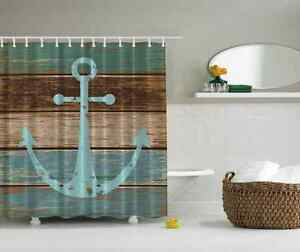 Nautical Anchor Rustic Wood - Shower Curtain - Water, Soap, and Mildew resistant