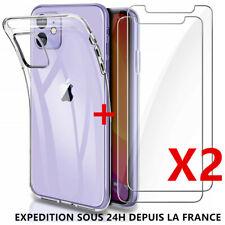 2 Verre Trempé Vitre Ecran IPHONE 13/12/11 Pro Max/XS/XR/X/8/7/6 SE+ Coque TPU
