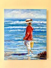 Original Seascape Oil Painting Girl on Beach with Yellow Pale