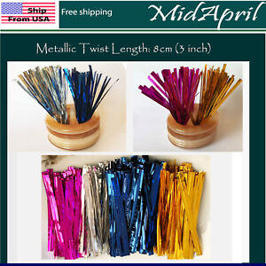 Metallic Twist ties for Gift Candy Lollipop Cake Bread Bag Party 8 cm 3 inch USA