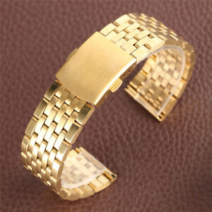Golden 18/20/22mm Solid Link 7 Beads Stainless Steel Watch Band Strap Replace