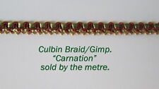 "Green/Red/Gold Upholstery/craft Gimp/Braid. ""Carnation"" 10mm (sold by the Metre)"