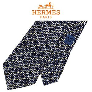 Hermes Blue Tie - Colorful Abstract Stripes 100% Silk Authentic French Necktie