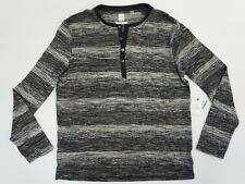 Calvin Klein Mens Striped Marled Knit Henley Pullover Sweater Shirt Grey Gray L