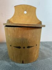 Vintage Antique Primitive Wooden Wall Salt Box Lappland Signed