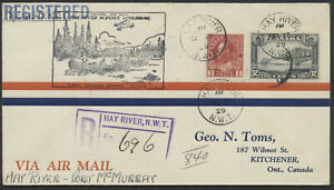 1929 Hay River NWT to Ft McMurray Flight Cover, AAMC #2967q, Registered
