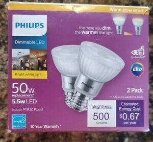 Philips LED Light Bulb-50-Watt Equivalent PAR20 Dimmable Bright White (2-Pack)