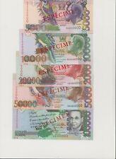Sao Tome Specimen Banknotes set ( 5000, 10,000, 20,000, 50,000, 100,000 ) UNC