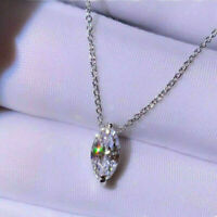 14k White Gold Over Solitaire Pendant Necklace 1.00 Ct Marquise Cut Diamond