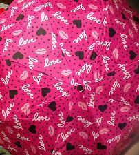 BETSEY JOHNSON Umbrella DESIGNER AUTO Compact Pop Art  PINK ROSE Lips NEW Heart