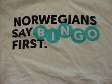 Norwegian Cruise Line Norwegians Say Bingo First Souvenir White T Shirt Size M