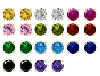 1.00 Carat Round Cut Diamond & Gemstone Screw Back Stud Earrings 14K Yellow Gold