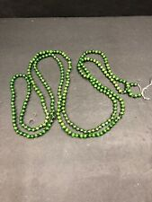 Vintage Antique Christmas Garland 1/4� Green Glass Beads Japan 90�